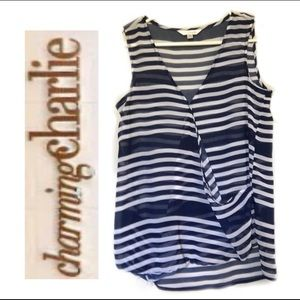 CHARMING CHARLIE - blue stripe sheer top, Size: S